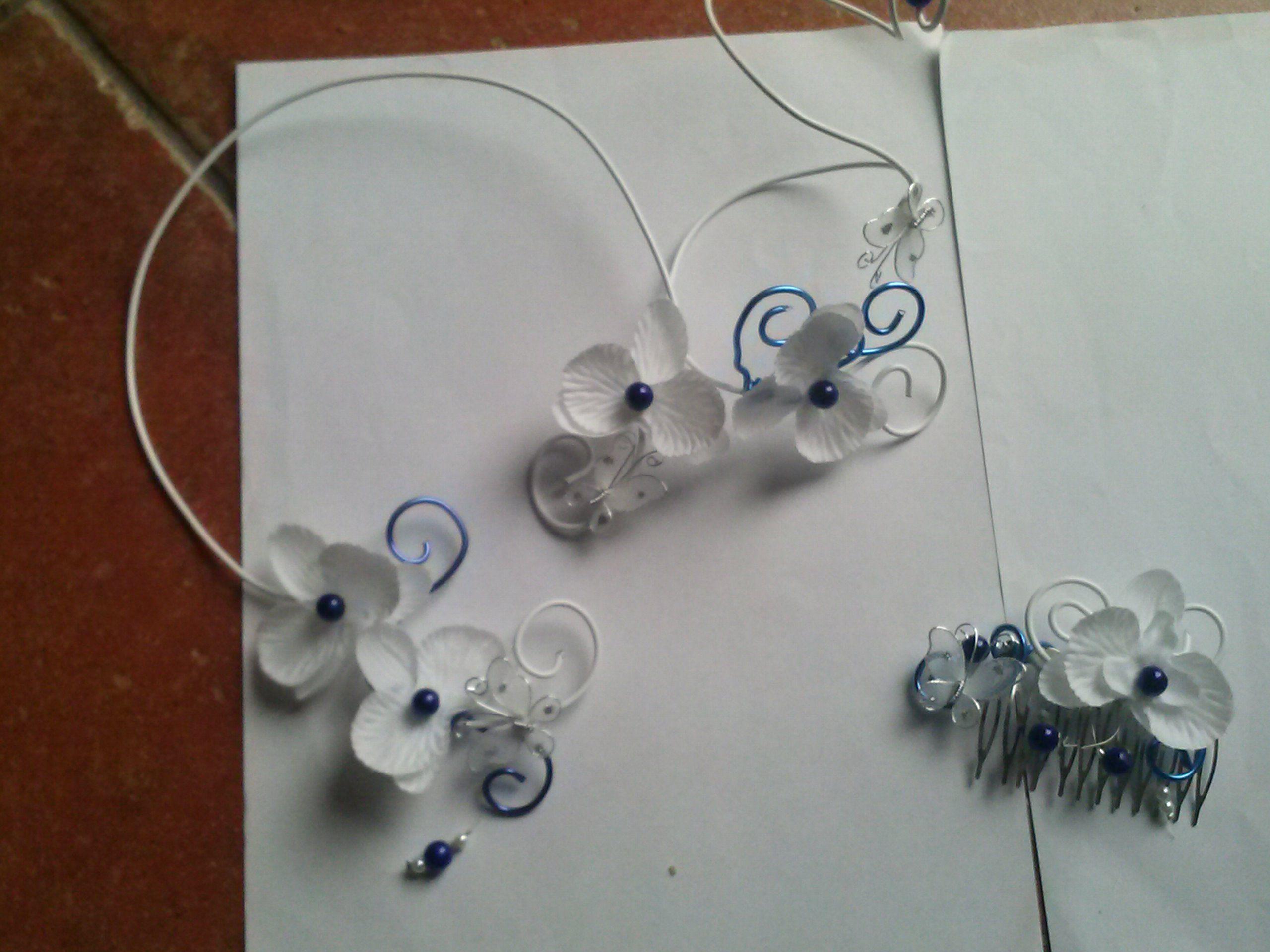 parure carmen sur fil aluminium blanc et bleu indigo. Black Bedroom Furniture Sets. Home Design Ideas